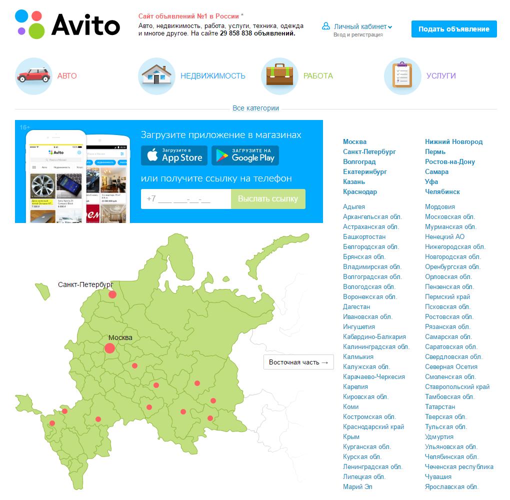 Личный кабинет Avito